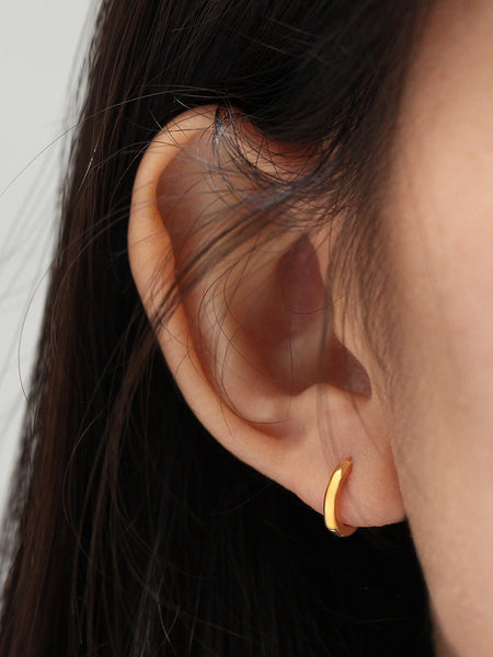 Bold Hoop Earrings 925 Sterling Silver & Gold Dip