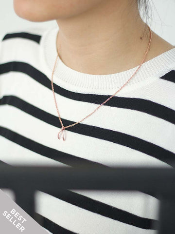WISHBONE Necklace 14k Rose Gold Dip
