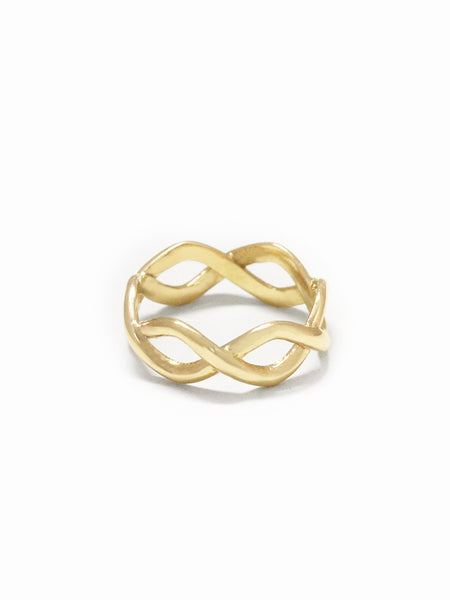 BRAIDED Ring 16.8k Yellow Gold Dip