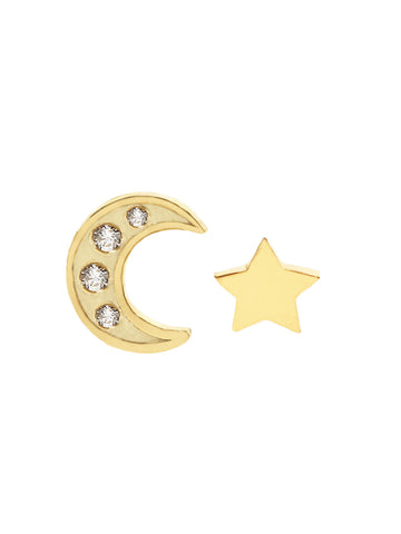 CRESCENT MOON & STAR Ear Studs Zirconia 16.8k Yellow Gold Dip