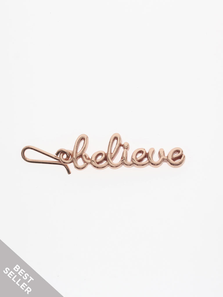BELIEVE Hook Charm 14k Rose Gold Dip