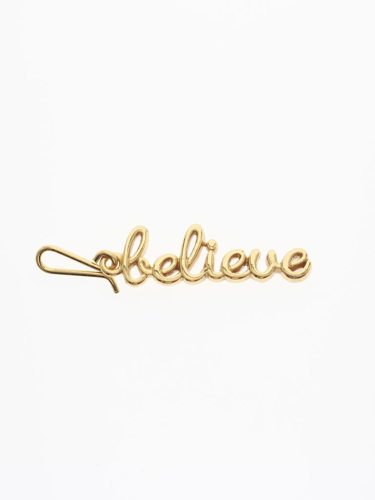 BELIEVE Hook Charm 16.8k Yellow Gold Dip