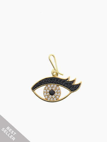 EYE LOVE YOU Hook Charm 16.8k Yellow Gold Dip