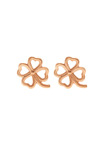 FOUR LEAF CLOVER Ear Studs 14K Rose Gold Dip