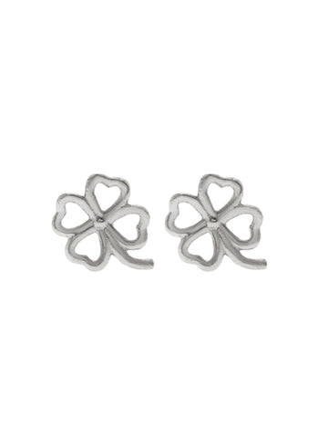 FOUR LEAF CLOVER Ear Studs 925 Sterling Silver