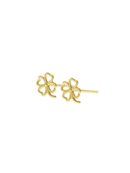 FOUR LEAF CLOVER Ear Studs 16.8K Yellow Gold Dip