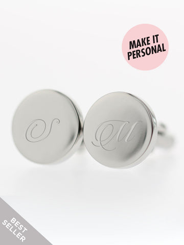 Engravable CEDRIC's Round Cufflinks 316L Stainless Steel