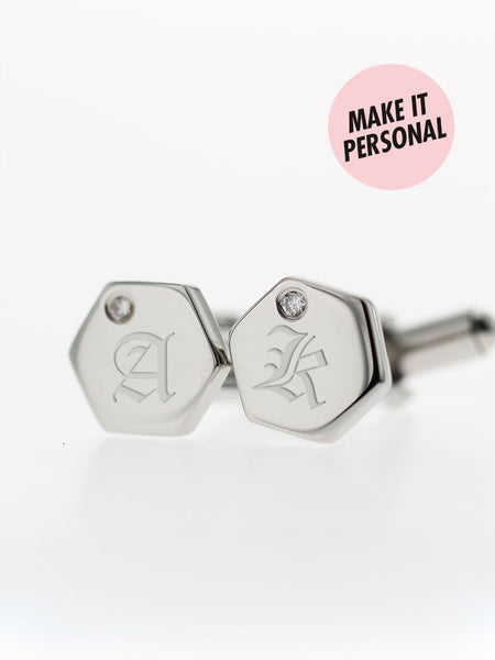 Engravable GODWIN's Hexagon Zirconia Cufflinks 316L Stainless Steel