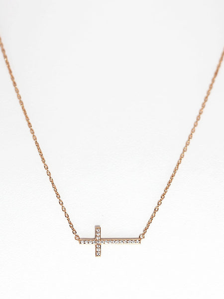 Zirconia Cross Necklace 14k Rose Gold Dip