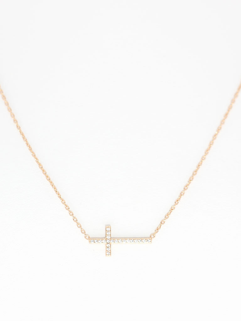 Zirconia Cross Necklace 16.8k Gold Dip