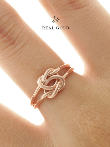 [REAL GOLD] Double Knotted Heart Ring 18k Rose Gold