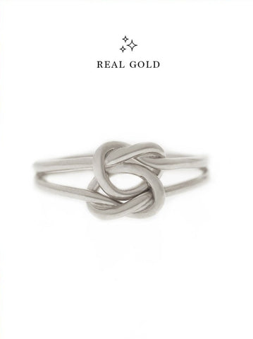[REAL GOLD] Double Knotted Heart Ring 18k White Gold