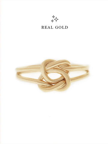 [REAL GOLD] Double Knotted Heart Ring 16.8k Yellow Gold
