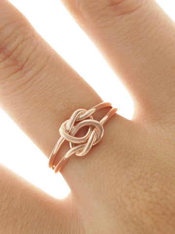 DOUBLE KNOTTED HEART Ring 14k Rose Gold Dip