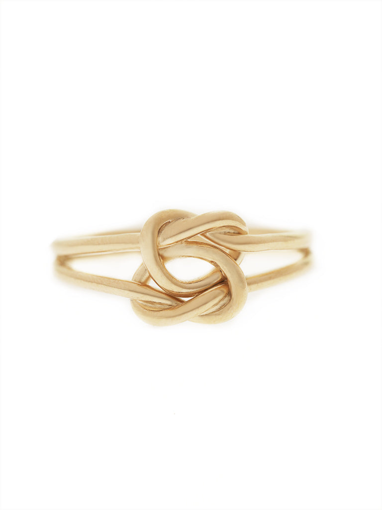 DOUBLE KNOTTED HEART Ring 16.8k Yellow Gold Dip