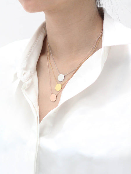 Engravable MARGAUX's Disc Necklace 925 Sterling Silver & Gold Dip