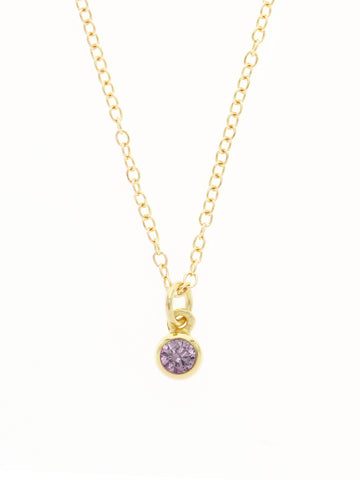 FEBRUARY Birthstone Necklace 925 Sterling Silver & Gold Dip [AMETHYST]