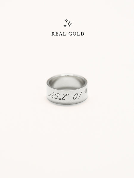 [REAL GOLD] Engravable GLADYS' Classic Ring 18k White Gold