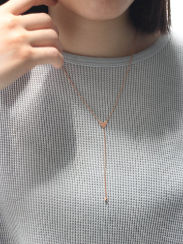 Heart Lariat Necklace 14k Rose Gold Dip