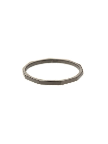 POLYGON STACKER Ring Black Ruthenium Plating
