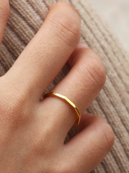 HAMMERED STACKER Ring 925 Sterling Silver & Gold Dip