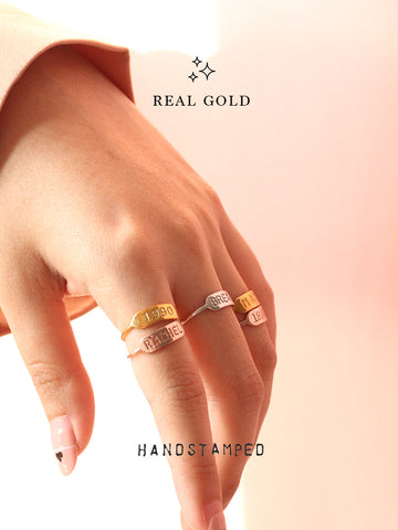[REAL GOLD] Personalized ETHEL's Handstamped Rectangle Bar Ring 16.8k Yellow Gold