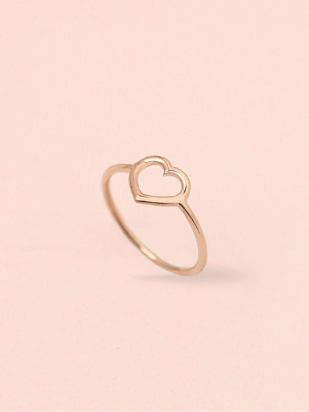 LOVE STRUCK HEART Ring 14k Rose Gold Dip