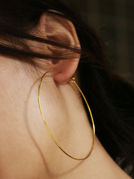 SWEETIE Lightweight Hoop Earrings (XL) 16.8k Yellow Gold Dip