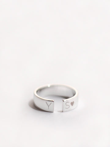 Engravable QUINN's Gap Ring 925 Sterling Silver & Gold Dip