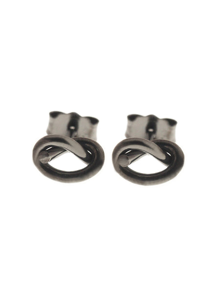 KNOTTED HEART Ear Studs Black Ruthenium Plating