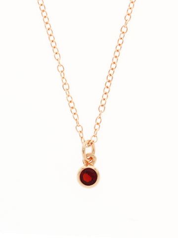 JANUARY Birthstone Pendant 925 Sterling Silver & Gold Dip [GARNET]