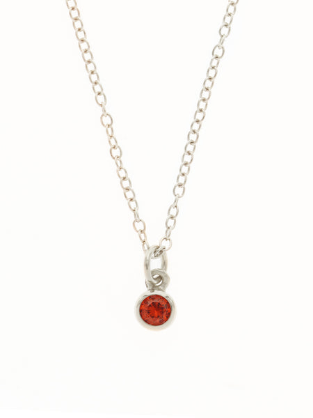 JULY Birthstone Pendant 925 Sterling Silver & Gold Dip [RUBY]