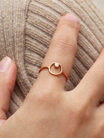 ECLIPSE Zirconia Ring 14k Rose Gold Dip
