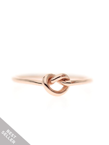 KNOTTED HEART Ring 14k Rose Gold Dip