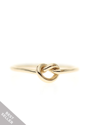 KNOTTED HEART Ring 16.8k Yellow Gold Dip