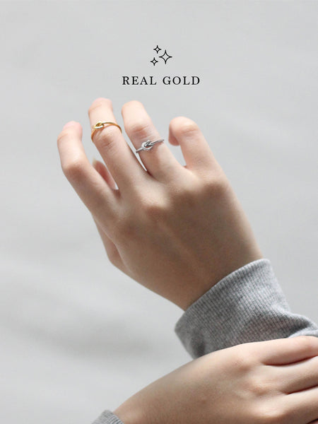 [REAL GOLD] Knotted Heart Ring 18k White Gold