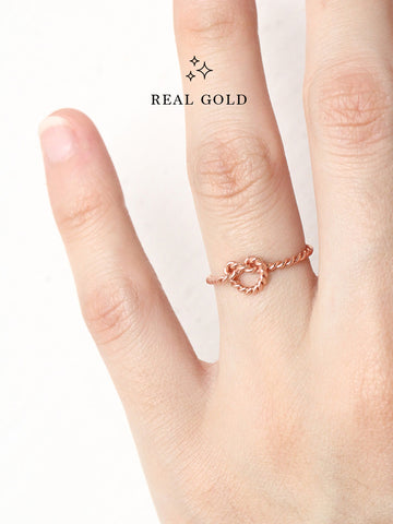 [REAL GOLD] Knotted Twist Heart Ring 18k Rose Gold