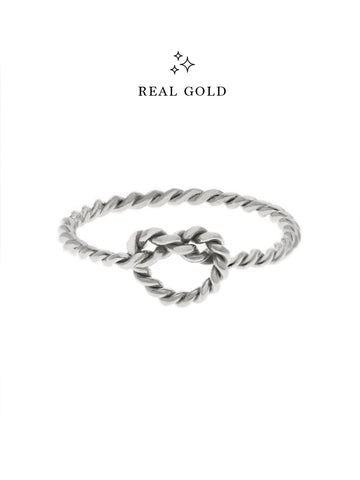 [REAL GOLD] Knotted Twist Heart Ring 18k White Gold