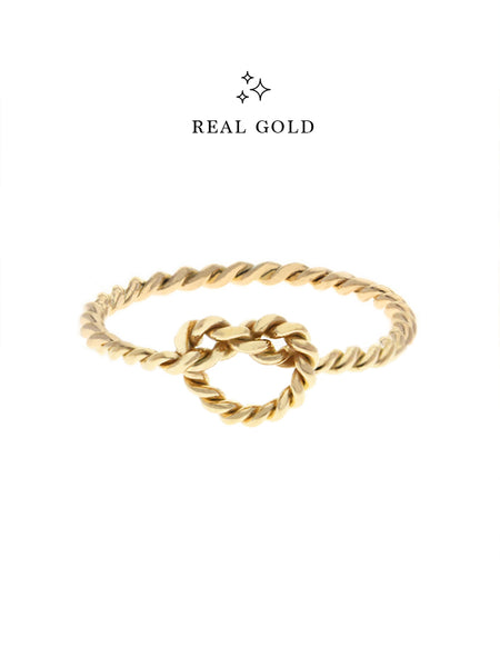 [REAL GOLD] Knotted Twist Heart Ring 16.8k Yellow Gold