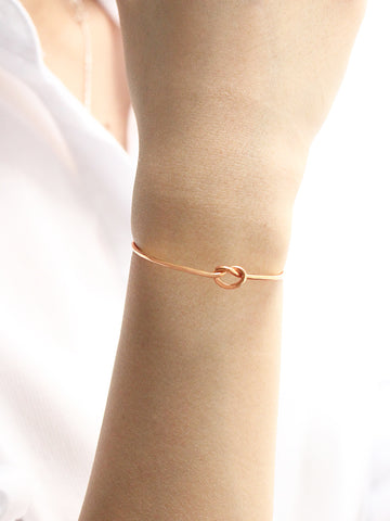 KNOTTED HEART Cuff 14k Rose Gold Dip