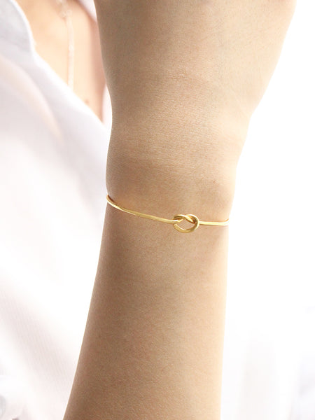 KNOTTED HEART Cuff 16.8k Yellow Gold Dip