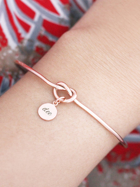 KNOTTED HEART Tiny Disc Cuff 14k Rose Gold Dip [ENGRAVABLE]