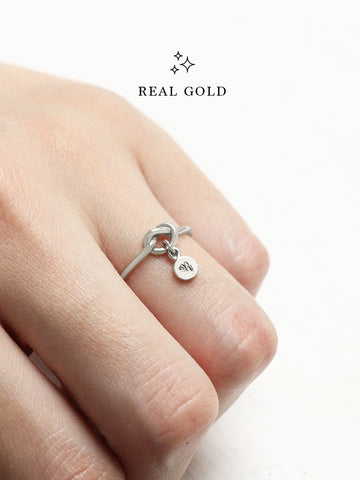 [REAL GOLD] Knotted Heart Tiny Disc Ring 18k White Gold