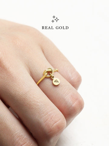 [REAL GOLD] Knotted Heart Tiny Disc Ring 16.8k Yellow Gold
