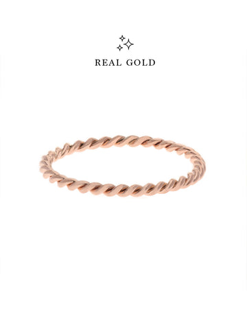 [REAL GOLD] Knotted Twist Stacker Ring 18k Rose Gold