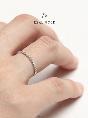 [REAL GOLD] Knotted Twist Stacker Ring 18k White Gold