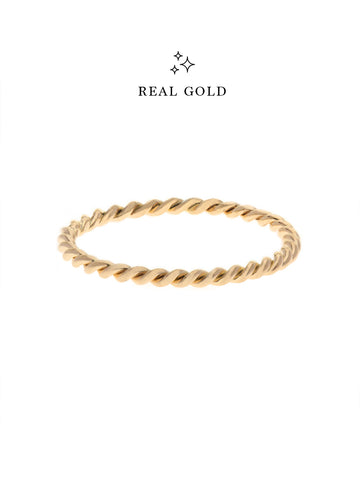 [REAL GOLD] Knotted Twist Stacker Ring 16.8k Yellow Gold