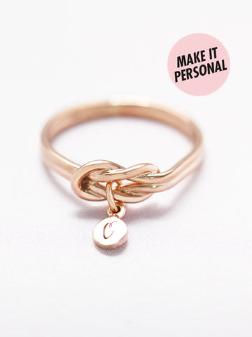 KNOTTED FOR ETERNITY Tiny Disc Ring 14k Rose Gold Dip [ENGRAVABLE]