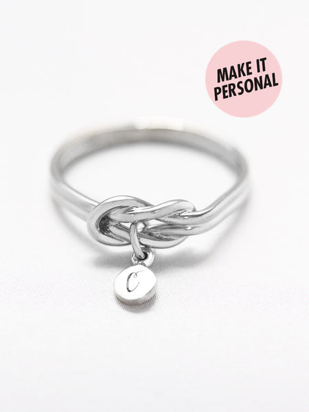 KNOTTED FOR ETERNITY Tiny Disc Ring 925 Sterling Silver [ENGRAVABLE]