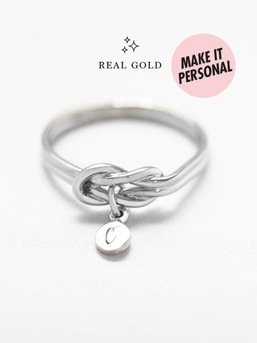 [REAL GOLD] Knotted for Eternity Tiny Disc Ring 18k White Gold